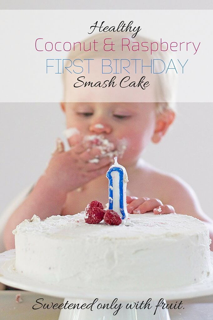 Healthy first birthday cake sweetened only with fruit