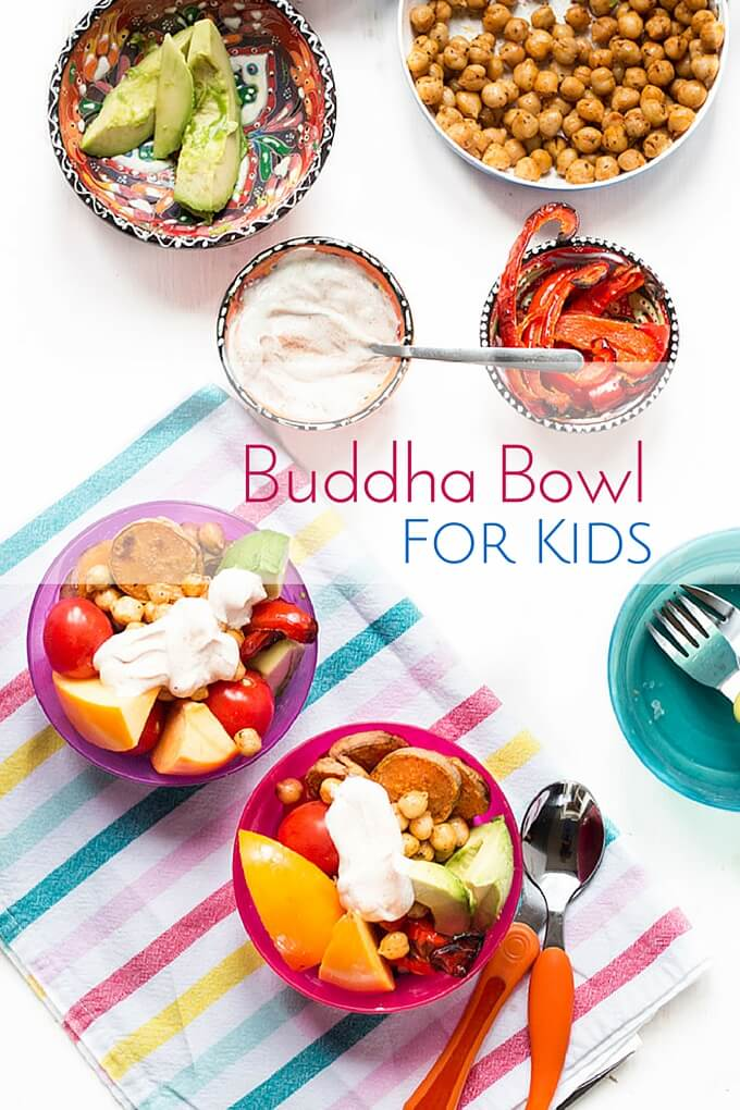 Buddha Bowl for kids. A healthy, fun, make your own lunch for kids. Easily adapted and great for fussy eaters