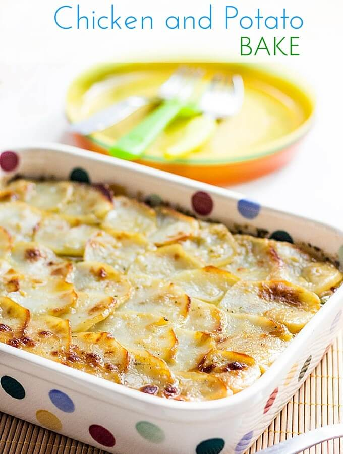 Chicken and Potato Bake - chicken cooked in a cream sauce topped with ...