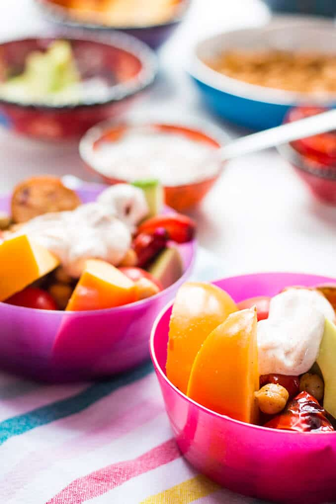 Buddha bowls for kids - a fun, healthy, make your own lunch. Easily adaptable and great for fussy eaters