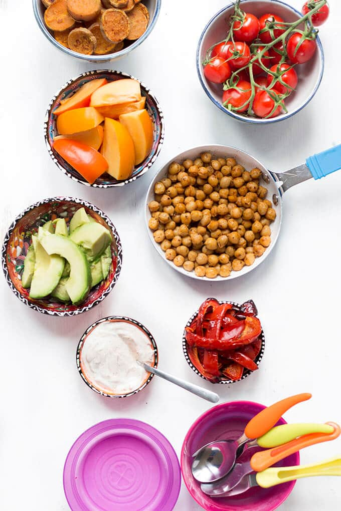 buddha bowl for kids. A fun, healthy, make your own lunch. Easily adaptable and great for fussy eaters