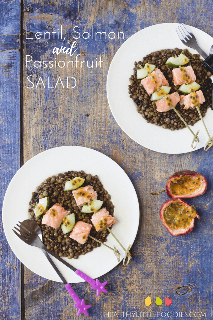 Lentil Salmon Passionfruit salad. A delicious salad with spiced dressing and added fruit for sweetness. Healthy family food.