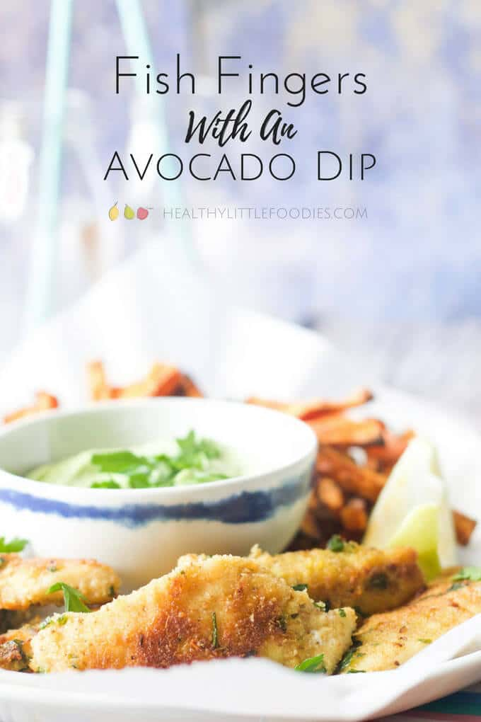 fish fingers with an avocado dip. A delicious kid friendly meal made healthier. Healthy kids food.