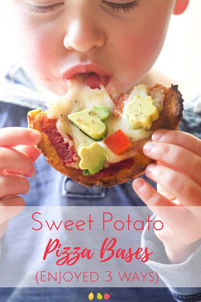 Enjoy this sweet potato pizza base 3 ways. Great as a healthy sweet breakfast, used as a bread alternative for sandwiches or topped with your fav pizza toppings. Healthy Kids food. Healthy pizza