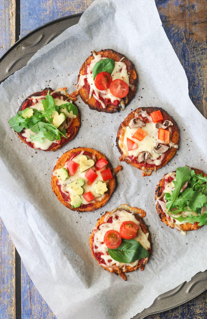 Enjoy this sweet potato base pizza 3 ways. Great as a healthy sweet breakfast, used as a bread alternative for sandwiches or topped with your fav pizza toppings. Healthy Kids food. Healthy pizza
