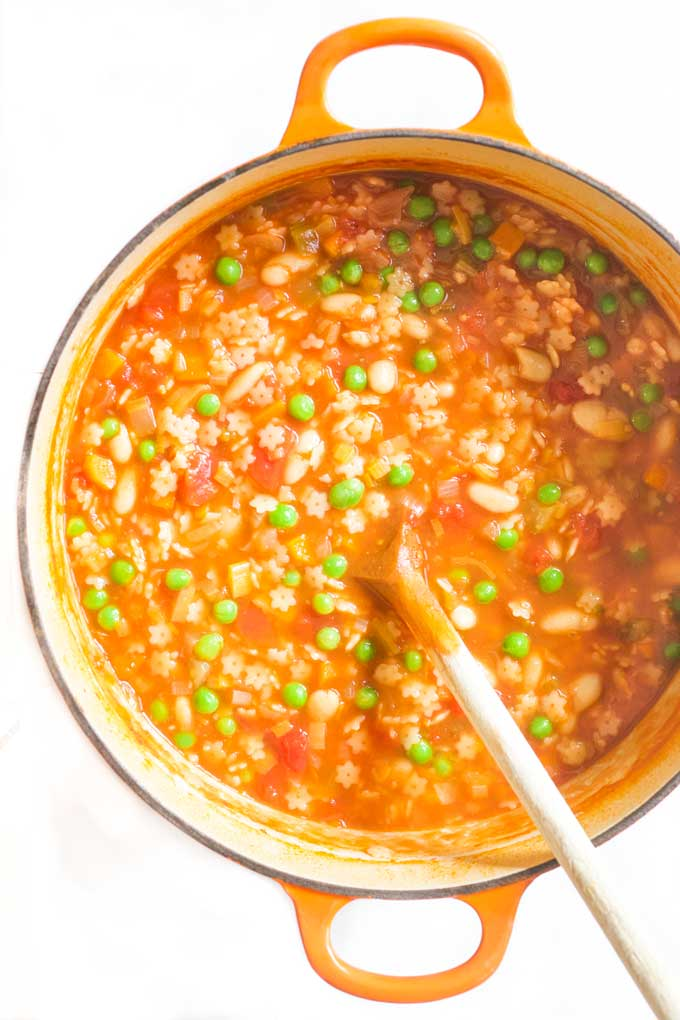 This minestrone soup contains 6 different veggies, beans and pasta. That past makes it an appealing kids soup. A great soup for the family