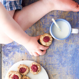 Healthy Thumbprint cookies perfect for baby led weaning or for kids. Made with 5 healthy ingredients they are healthy enough to serve for breakfast! Lunchbox friendly. #babyledweaning #blw #kidfood #kidsfood #kidsnack